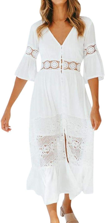 SCHOLIEBEN Vintage Weiß Kleid Damen, Chiffon Elegant Hochzeit V