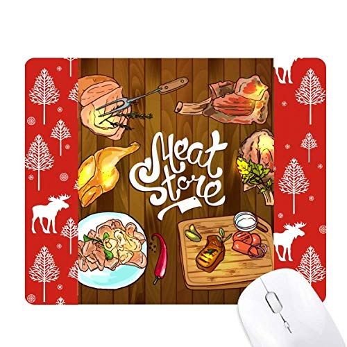 (Meat Store Barbecue Steak Christmas Woods Forest Deer Elk Mouse Pad )