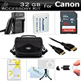 32GB Accessories Kit For Canon PowerShot SX500 IS SX510 HS SX520 HS, SX530 HS Digital Camera Includes 32GB High Speed SD Memory Card + Replacement (1200maH) NB-6L Battery + Ac/Dc Charger + Case + More