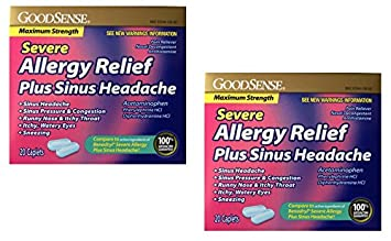 GoodSense Severe Allergy Relief + Sinus Headache, 20 Caplets - 2 Pack (40  Total