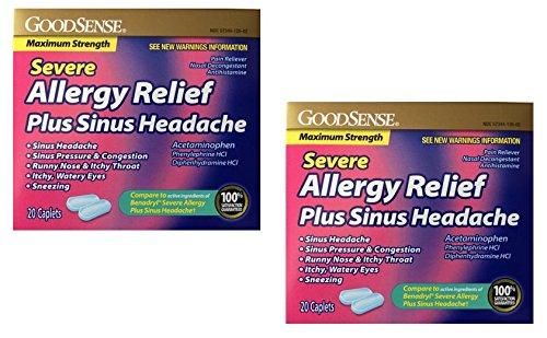 (GoodSense Severe Allergy Relief + Sinus Headache, 20 Caplets - 2 Pack (40 Total), Compare to Benadryl Severe Allergy Plus Sinus Headache)