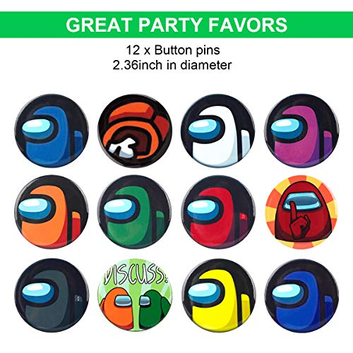 Among Us Party Supplies 91 Pcs Birthday Party Favors Gifts Set Include 12 Bracelets, 12 Key Chains, 12 Button Pins, 5 Key Rings, 50 Stickers for Kids Among Us Fans Themed Party