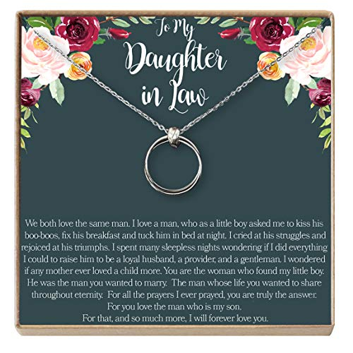 Dear Ava Daughter-in-Law Gift Necklace: Wedding Gift, Jewelry from Mother-in Law, 2 Linked Circles (Silver-Plated-Brass, NA)