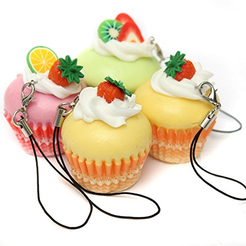 Kawaii Fruit Cream Cupcake Squishy Bread Keychain Bag Phone Charm