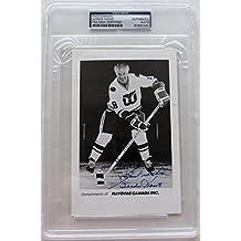 Gordie Howe Signed Advertising Index Card Inscribed Slabbed 83690580 - PSA/DNA Certified - Hockey Slabbed Autographed Rookie Cards