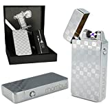 Dual arc plasma lighter Silver with gift box Windproof flameless tesla coil lighter electric usb rechargeable usblighter survival camping double edc luxury design Cool Christmas Gift for men him her