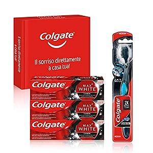 Colgate, Kit Sbiancante Al Carbone, Dentifricio Colgate Max White Carbon Sbiancante 75 ml e Spazzolino Colgate 360…
