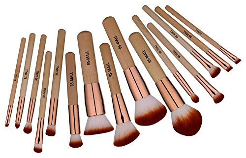BS-MALL Makeup Brush Set 15 Pcs Wooden Eyeshadow Lip Foundation Makeup Brush Set