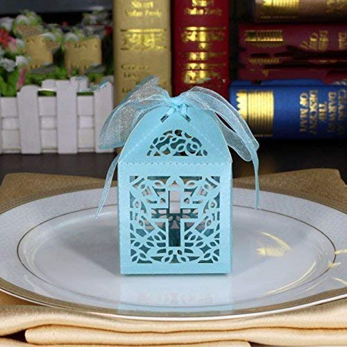 Cross Laser Cut Favor Box Christening Baby Boy Shower Bomboniere with Ribbons Party Favors ()