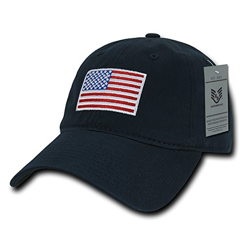 Rapid Dominance American Flag Embroidered Washed Soft Cotton Fitting Cap - Navy from Rapid Dominance