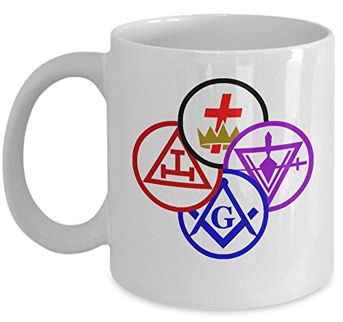 Masonic coffee mug - York Rite Symbols cup - Freemason gift - Sold only by Saroth design Scottish Rite Symbols