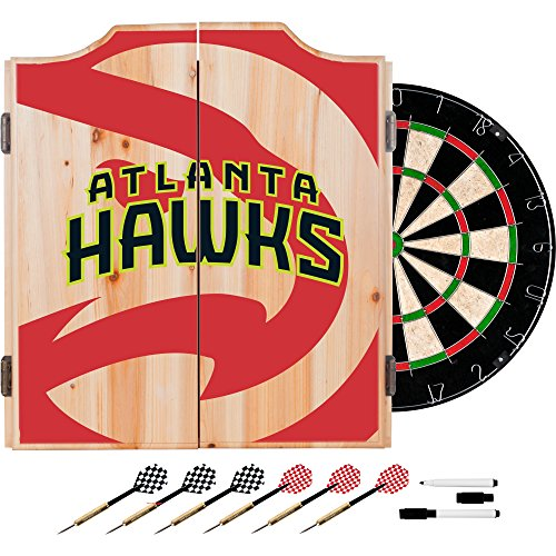 Trademark Gameroom NBA7010-AH2 NBA Dart Cabinet Set with Darts & Board - Fade - Atlanta Hawks by Trademark Global