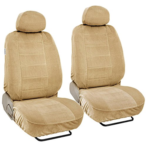 Fine Velvet Seat Covers for Car SUV Van - Durable Rich Velour Fabric Front Pair - Driver & Passenger (Beige)