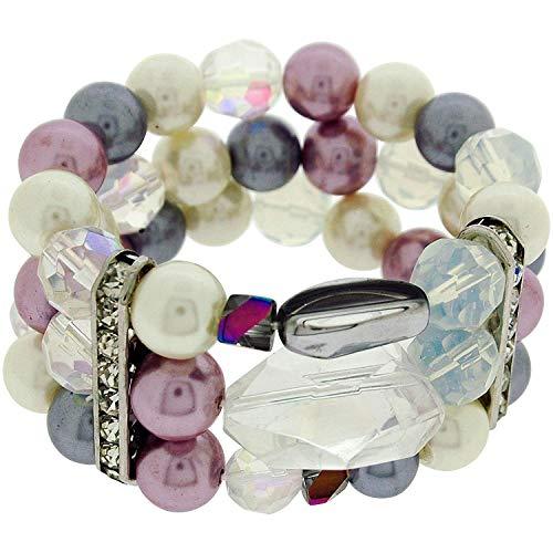 (Park Lane Simulated Pearl Pink, Ivory & Grey Pearl Bracelet with Rhinestones)