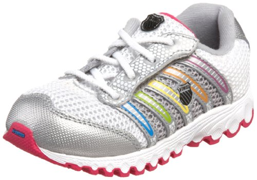 K-Swiss 22443 Tubes Run 100 VLC Mesh Running Shoe (Infant/Toddler),White/Silver/Multi,7 M US Toddler (K Swiss Womens Tubes Run 100 Athletic Shoe)