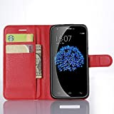 Doogee Y100 Pro Case, Popsky Lichee Lines PU Leather Stand Flip Wallet Case with Built-in Card Slots and Cash Compartment Premium Cover Case for Doogee Valencia2 Y100 Pro Phone (Red)