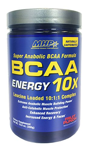 MHP BCAA 10x Energy Leucine Loaded 10:1:1 Complex, Fruit Punch, 10.6 Ounce