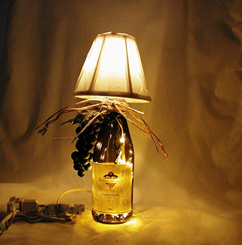 Small table lamp for your Italian Decor Crafted From a Recycled Kendall Jackson Chardonnay Wine Bottle. Shipping is included