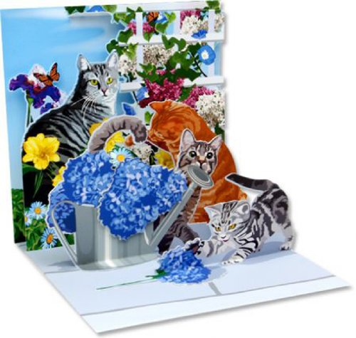 1 X Pop-Up Greeting Card Cats and Flowers Up With Paper #100