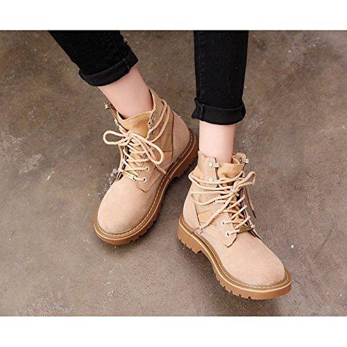 botas Chunky combate para HSXZ Marrón Black de invierno botas mujer talón beige zapatos botas Mid Suede de Calf redonda Casual puntera Negro qqxn8zaZ