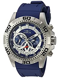 Invicta Men's 'Aviator' Quartz Stainless Steel and Silicone Casual Watch, Color:Blue (Model: 21736)
