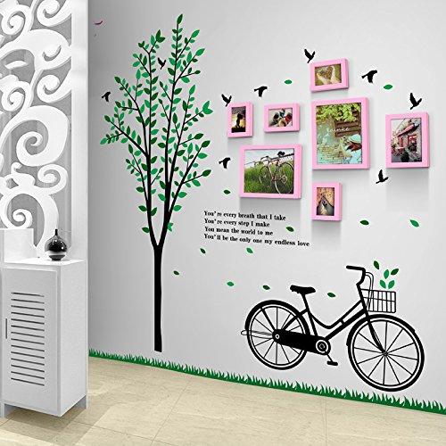 TIANTA- 7 Box Bike Tree Fresh Creative Fashion Solid Wood Frame Combination Corridor Bedroom Restaurant Modern Photo Wall Children's Room Photo Wall adorn ( Color : #7 )