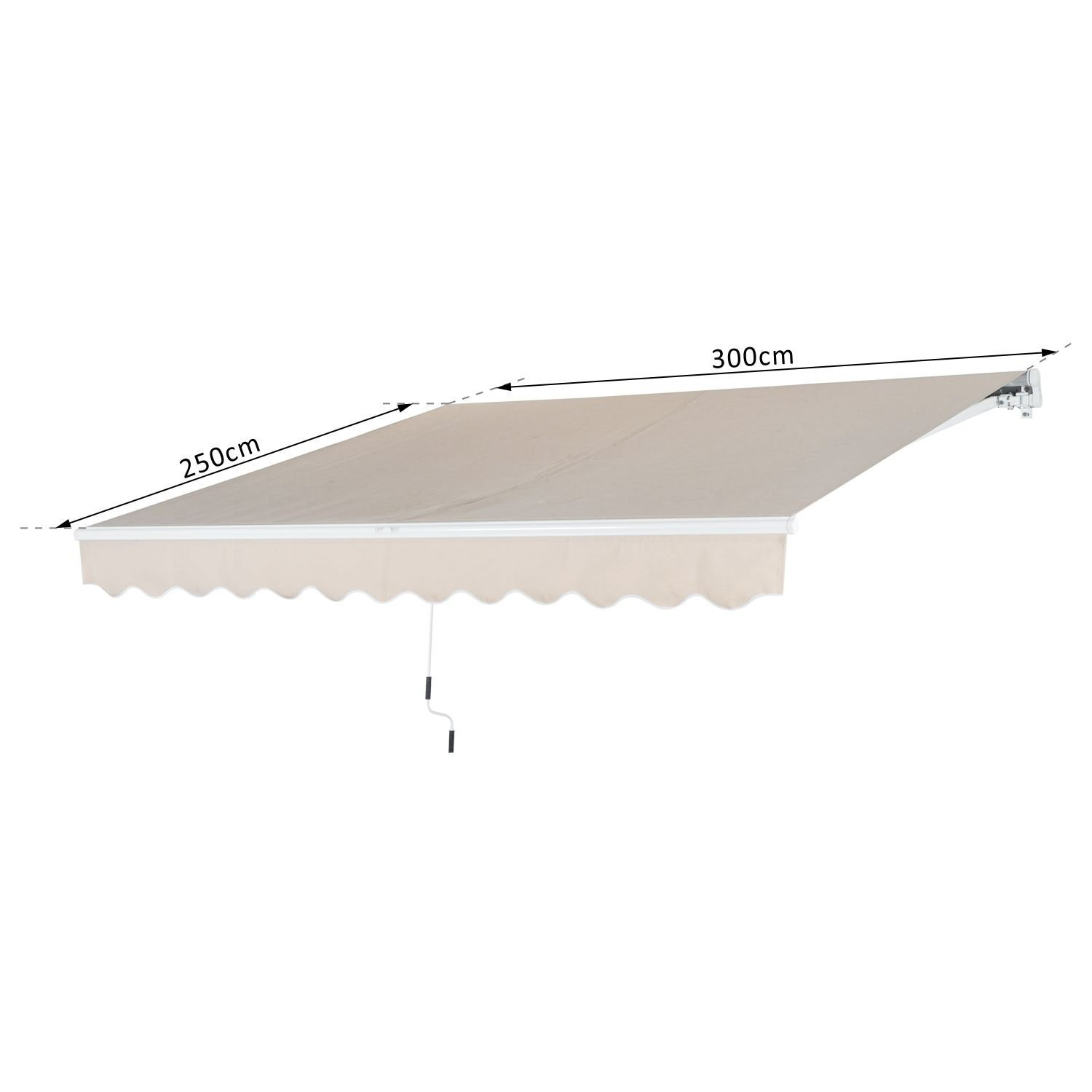 Outsunny Tenda da Sole Avvolgibile da Esterno Impermeabile in Poliestere Beige 300 /× 250 cm