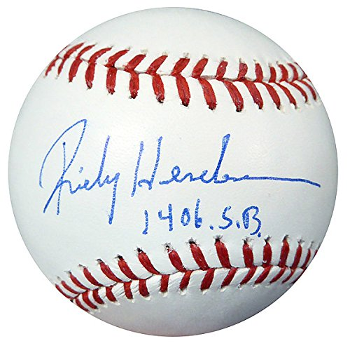 Rickey Henderson Signed Official MLB Baseball A's 1406 SB Steiner Holo Stock #112668 - Baseball Collectible from Sports Collectibles Online