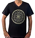 Hands Of Tibet Handmade Men's V-Neck T-Shirt Shri Yantra Design (Black, Large)