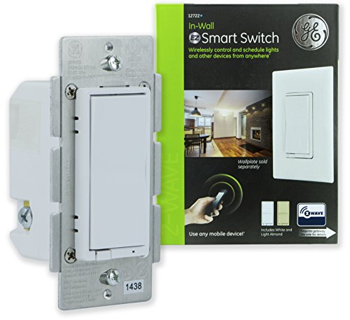 - GE Z-Wave Wireless Smart Lighting Control Light Switch, On/Off Paddle, In-Wall, White & Lt. Almond Paddles, Repeater & Range Extender, Zwave Hub Required- Works with SmartThings Wink and Alexa, 12722