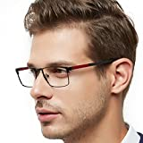 OCCI CHIARI Rectangle Full-Rim Metal Optical Glasses Acetate Arm for Bussiness Men(Black-Red, 54)
