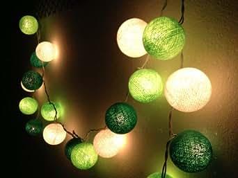 BANJAMATH - Guirnalda luminosa de farolillos (algodón, 20 luces LED), color verde y blanco