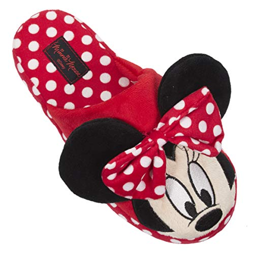 Disney Minnie Mouse Slippers for Women; House Shoes for Women Red]()