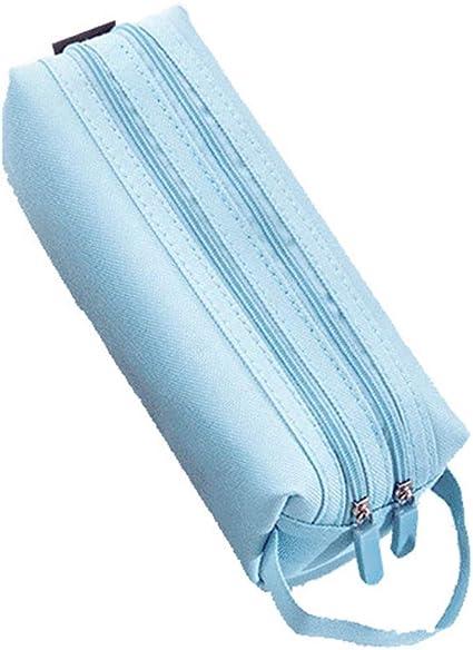 Fewxdsad Estuche grande con cremallera doble grande para lápices de la escuela Kawaii, estuche de lápices para niñas regalos bonitos suministros de papelería, color azul claro: Amazon.es: Oficina y papelería