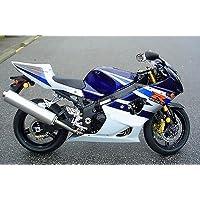 White w/ Blue & Black Fairing Injection for 2003-2004 Suzuki GSXR GSX-R 1000