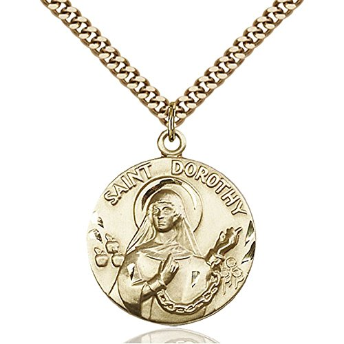 Gold Filled St. Dorothy Pendant 1 x 7/8 inches with Heavy Curb Chain by Bonyak Jewelry Saint Medal Collection