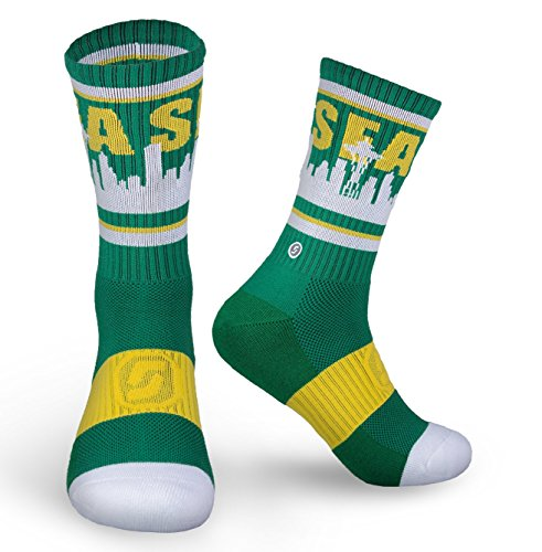 Seattle Skyline SEA Socks (Sonics Hardwood Green)