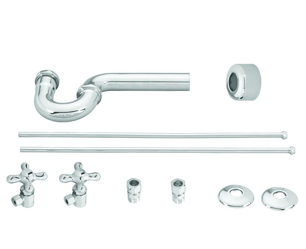 Westbrass Traditional Pedestal Lavatory Kit with Cross Handles, Polished Chrome, D1838L-26 by Westbrass