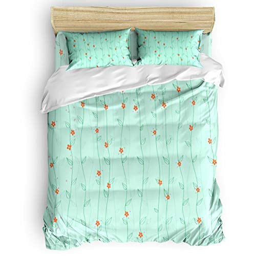 Funy Decor Flower Stripe 3-Piece Bedding Sets, Green Cirrus Pattern Duvet Cover Sets, Include 1 Duvet Cover 2 Pillow Cases for Childrens/Kids/Teens/Adults Twin