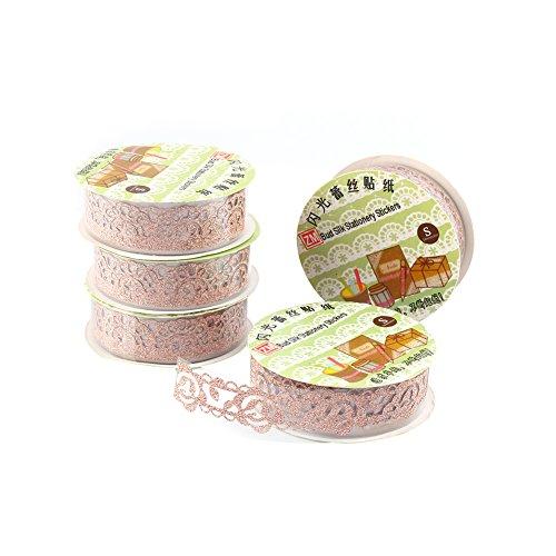 5 Rollen Lace Decor Kreatives Klebebänder Glitter Gold Pulver Spitzenband Selbstklebend Washi Tape Spitze Dekobänder Papier Aufkleber Kunsthandwerk DIY - ca. 100x18 mm (Orange)