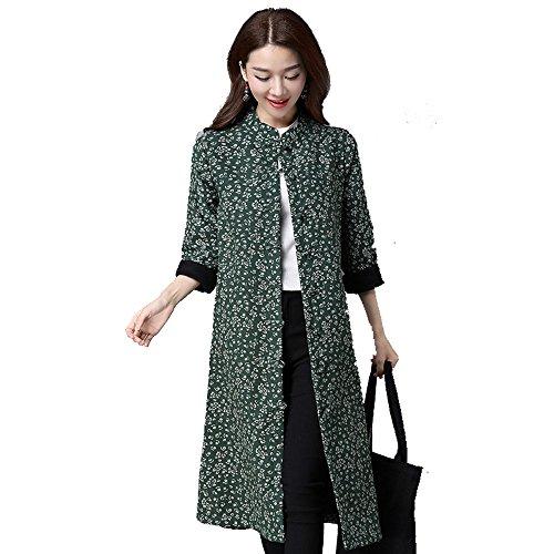 Frau Nationalen Wind Herbst Und Wintermantel Länger Pankou Frauen Kaschmirmanteljacke Blumen Multicolor Multi-Größe,Green-m