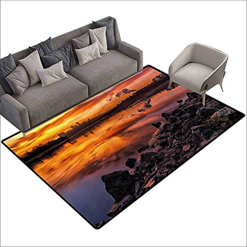 - Non Slip Door Mat for Front Door Landscape,USA Missouri Kansas City Scenery of a Sunset Lake Nature Camping Themed Art Photo,Multicolor 60