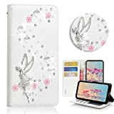 STENES Galaxy J7 (2018) Case - Stylish - 3D Handmade Bling Crystal Girls Fairy Floral Design Magnetic Wallet Credit Card Slots Fold Stand Leather Cover for Samsung Galaxy J7 SM-J737 - White