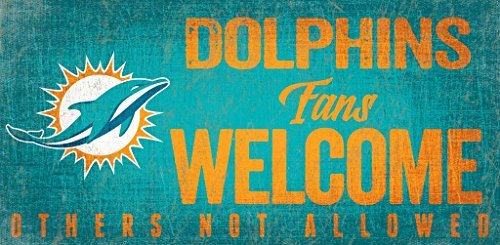 Fan Creations Miami Dolphins Wood Sign Fans Welcome 12x6 ()
