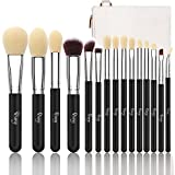 Qivange Makeup Brushes, Synthetic Eyeshadow Bronzer Foundation Brushes Set with Cosmetic Bag(15pcs, Black with Silver)