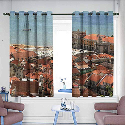 HOMEDD Custom Curtains,European View of Central Lisbon Portugal with Rooftops and Sea Old Town Nostalgic City,Treatment Thermal Insulated Room Darkening,W55x39L -
