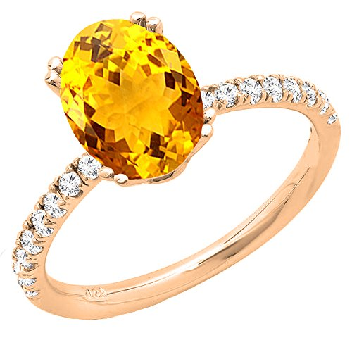 8x6 Oval Ring - Dazzlingrock Collection 14K 8X6 MM Oval Citrine & Round Diamond Bridal Engagement Ring, Rose Gold, Size 7