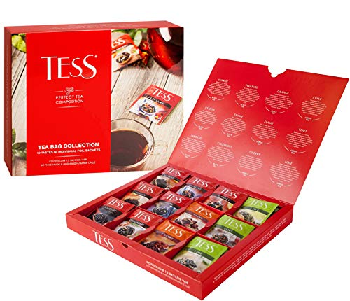collection 60 PCs Black and green tea 12 taste TESS Beverages gift Grocery Gourmet - Tess Collection