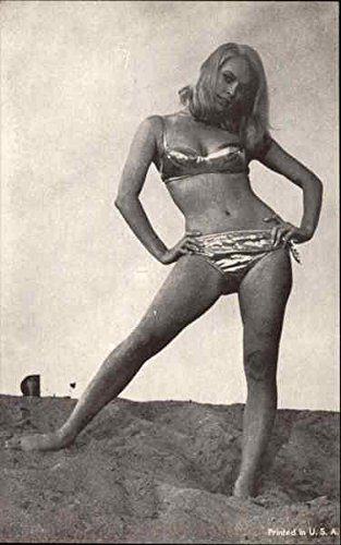 Girl in Metallic Fabric Bikini Swimsuits & Pinup Original Arcade Card by CardCow Vintage Postcards