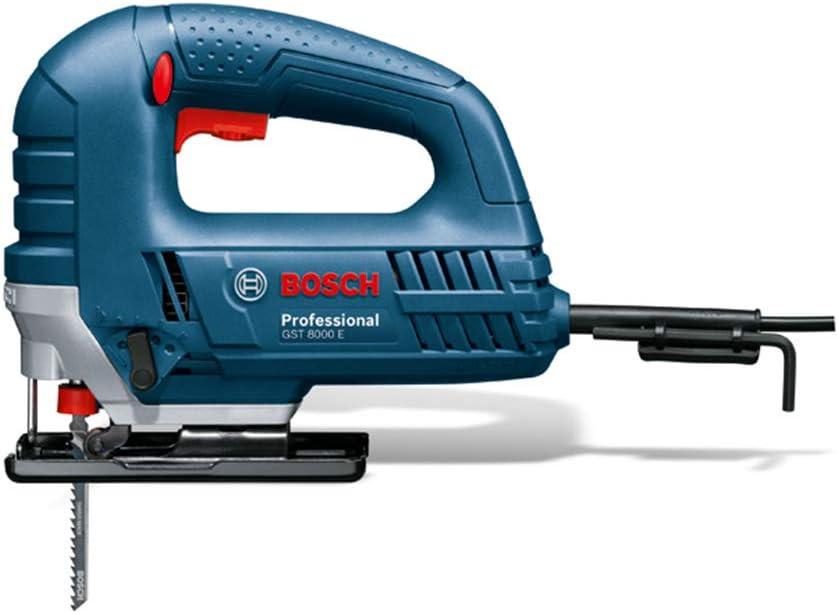 BOSCH 060158H000 - Sierra de calar GST 8000 E Professional. 710 W, Profundidad de corte hasta 80 mm, Sistema de cambio de hoja de sierra SDS, 500-3.100 cpm, Movimiento pendular de 4 escalones. 2,5 Kg